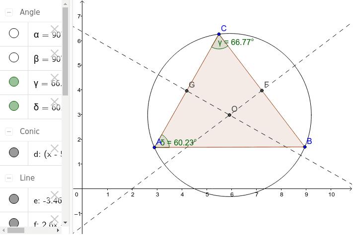 Háromszög köré írt kör Press Enter to start activity