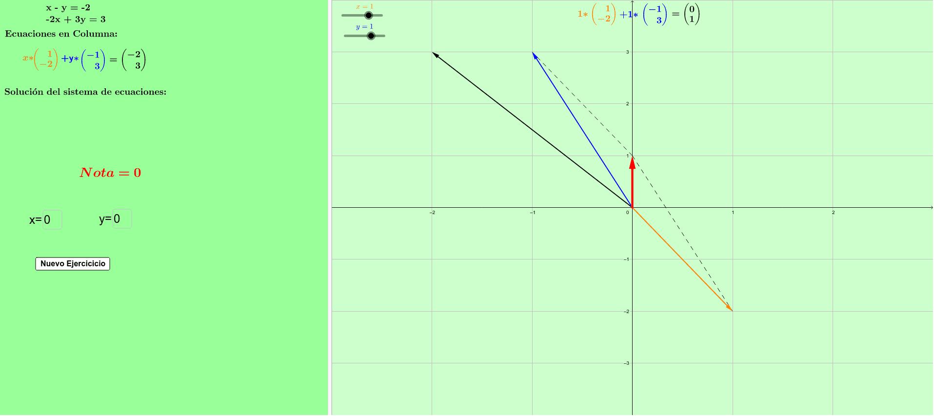 Visión Columna: Mueva los deslizadores x,y  hasta que los vector rojo se sobreponga al negro. Presiona Intro para comenzar la actividad