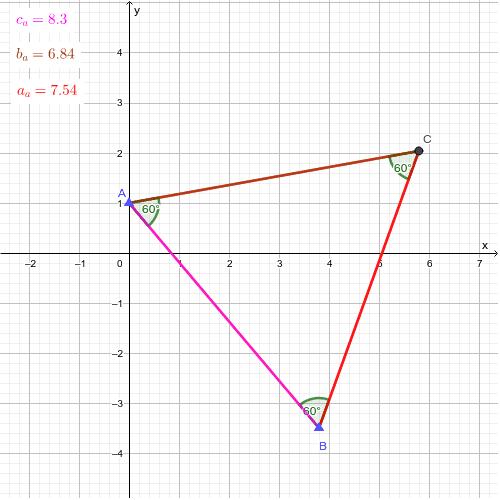 Egyenlő szögű háromszög oldalainak ahosszai Press Enter to start activity