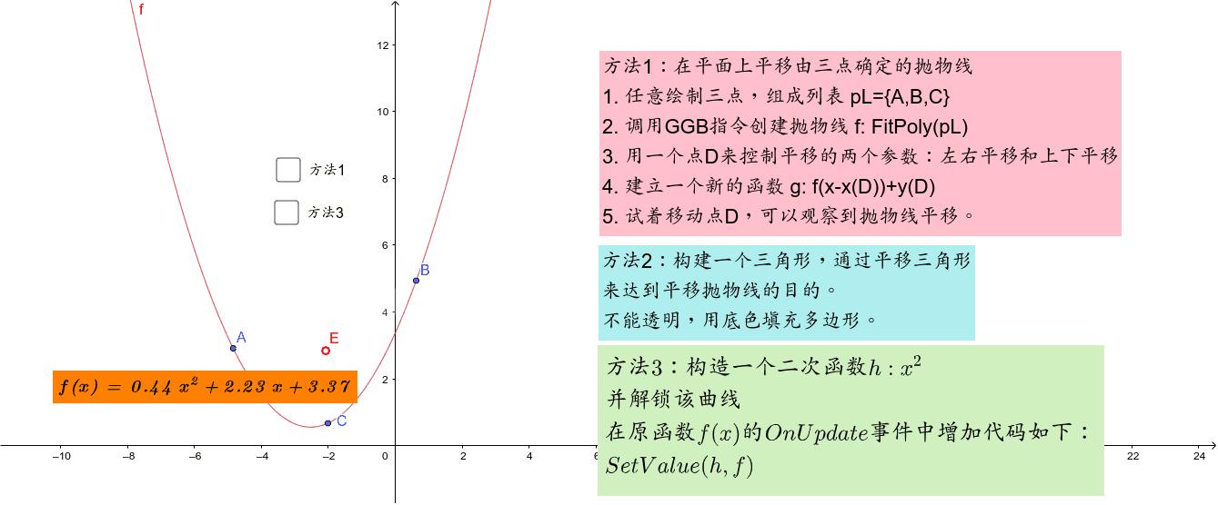 三种方法平移三点确定的抛物线 按 Enter 开始活动