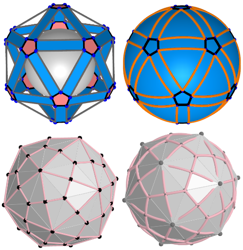 Spherical Rhombicosidodecahedron and Spherical Deltoidal hexecontahedron(Variant2)
