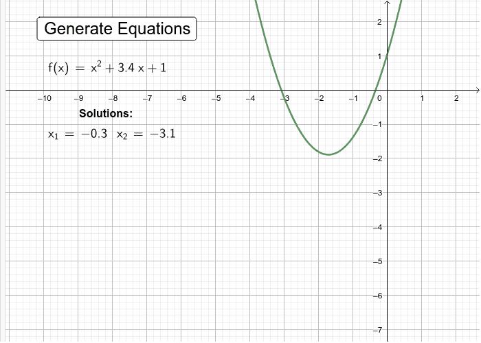 Random Quadratic Equation Solver - graphical Press Enter to start activity