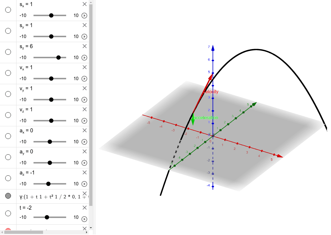 Projectile motion in 3D. Change the initial position, velocity and acceleration using the sliders. Move the slider of the time t to see how velocity and acceleration of the projectile change. Press Enter to start activity