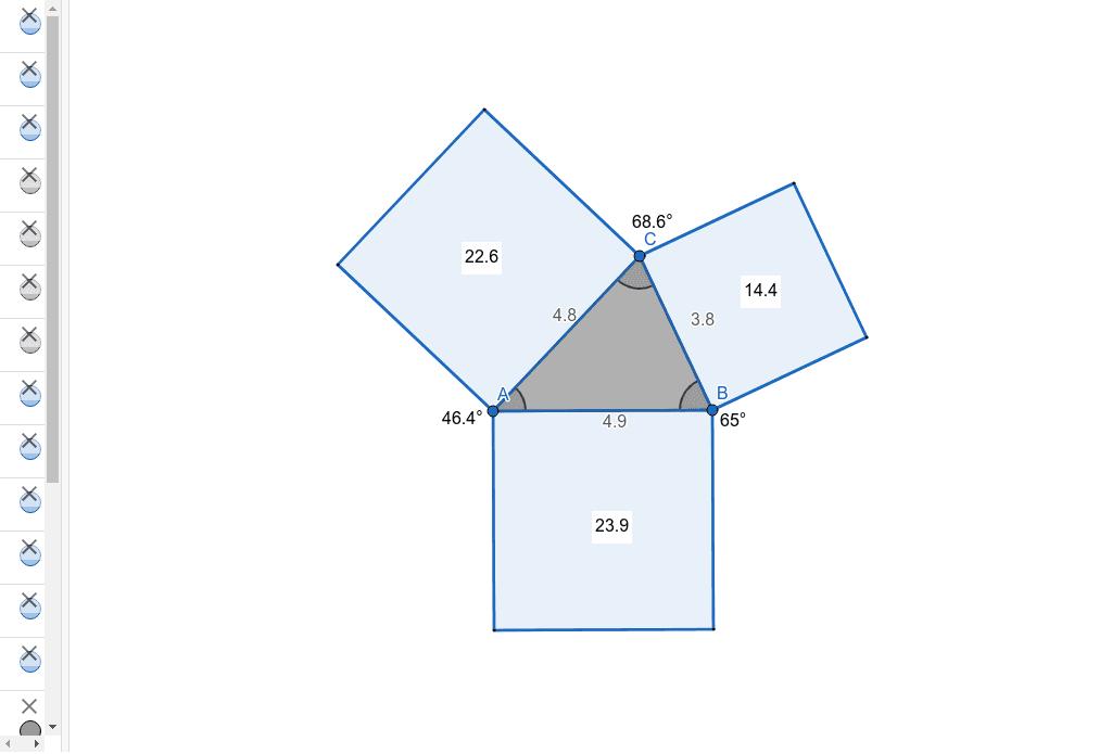 Zeihe an den Punkten, um das Dreieck zu verändern. Drücke die Eingabetaste um die Aktivität zu starten
