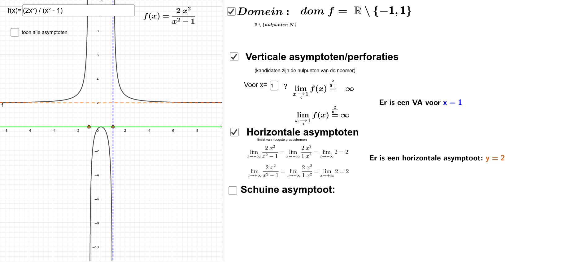 Horizontale en verticale asymptoot Klik op Enter om de activiteit te starten