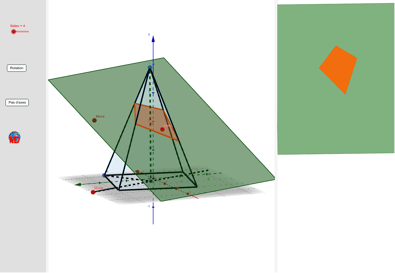 Red dots to change the intersection plane and blue dots for the pyramid Press Enter to start activity