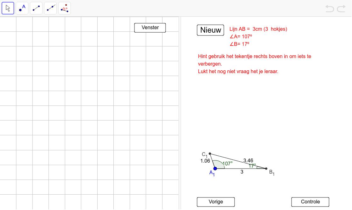 Driehoeken tekenen Klik op Enter om de activiteit te starten