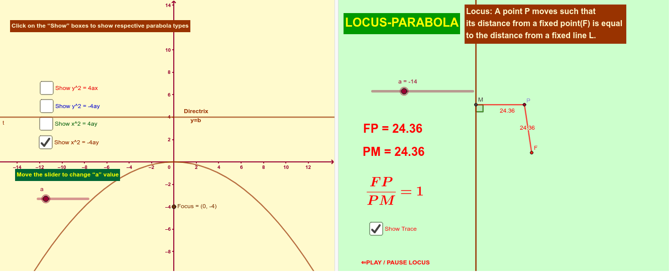 Tracing of a Parabola Press Enter to start activity