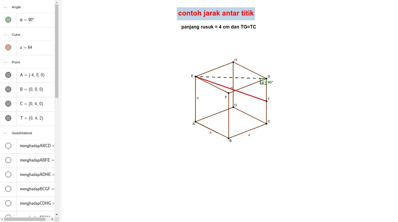 contoh jarak antara dua titik  Tekan Enter untuk memulai aktivitas