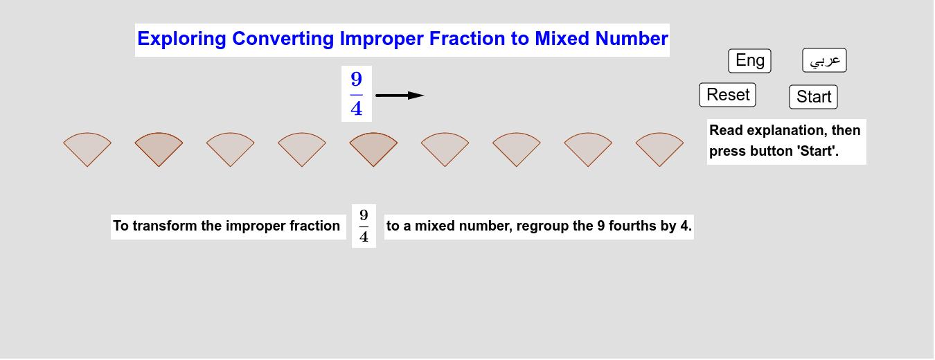 Exploring Converting Improper Fraction To Mixed Number     استكشاف تحويل الكسر الزائد إلى عدد كسري Press Enter to start activity