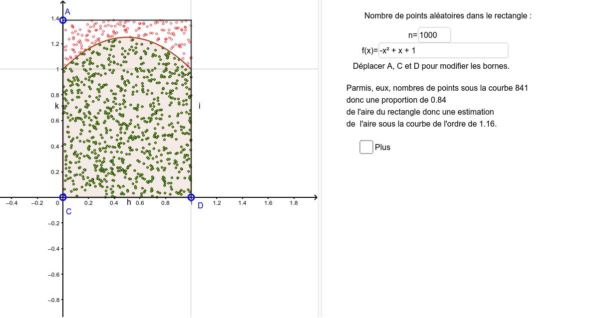 """Des points alétoire répartis de manière uniforme sur deux surfaces, pour estimer l'aire d'une surface à l'aide de l'aire connue de l'autre et la proportion de points dans l'une par rapport à l'autre. Tapez """"Entrée"""" pour démarrer l'activité"""