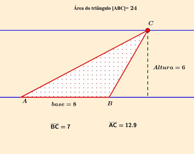 Veja o que acontece com a medida da área caso você movimente o vértice C do triângulo a seguir. Press Enter to start activity