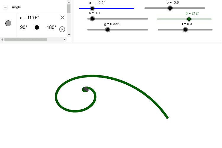 アワビは右巻きだった。角度α=120°、β=170°、g=0.325(修正変数)にしてみよう。よりアワビらしくなります。 ワークシートを始めるにはEnter キーを押してください。