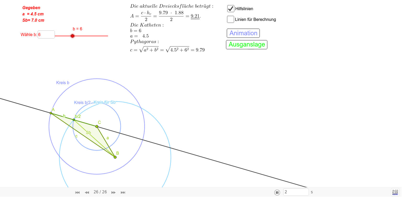 Dreieckskonstruktion: Gegeben a = 4.5 cm, Sb = 7 cm, b= 6 cm und b dynamisch  Drücke die Eingabetaste um die Aktivität zu starten