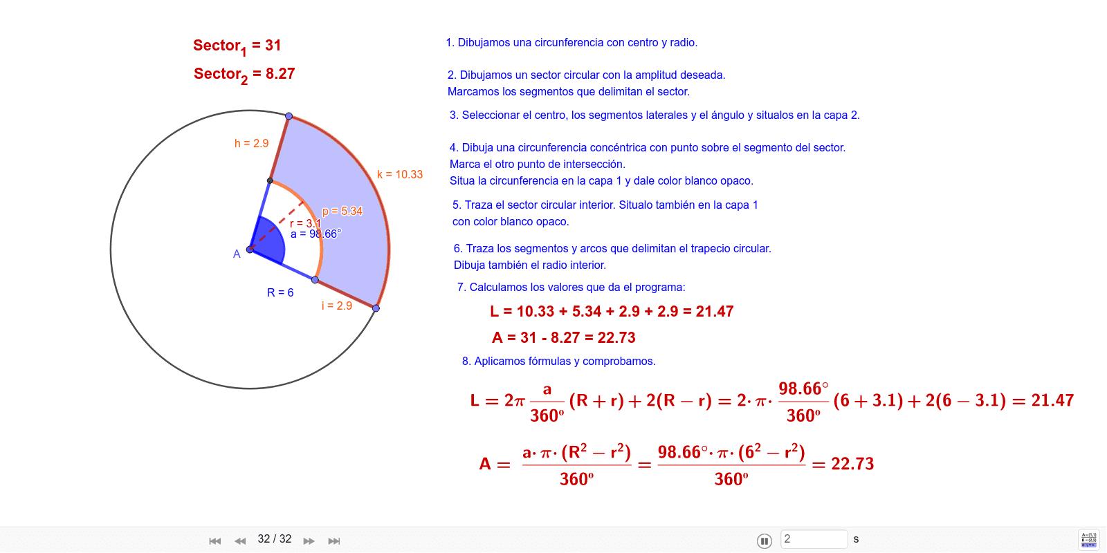 Trapecio circular: construcción y comprobación de fórmulas. Presiona Intro para comenzar la actividad