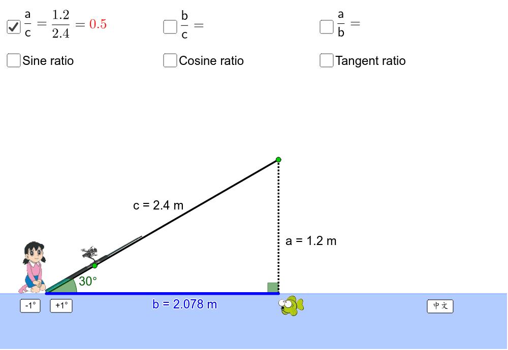 Move the green points. 拖拉綠色點改變魚桿的長度和角度。 按 Enter 鍵開始活動