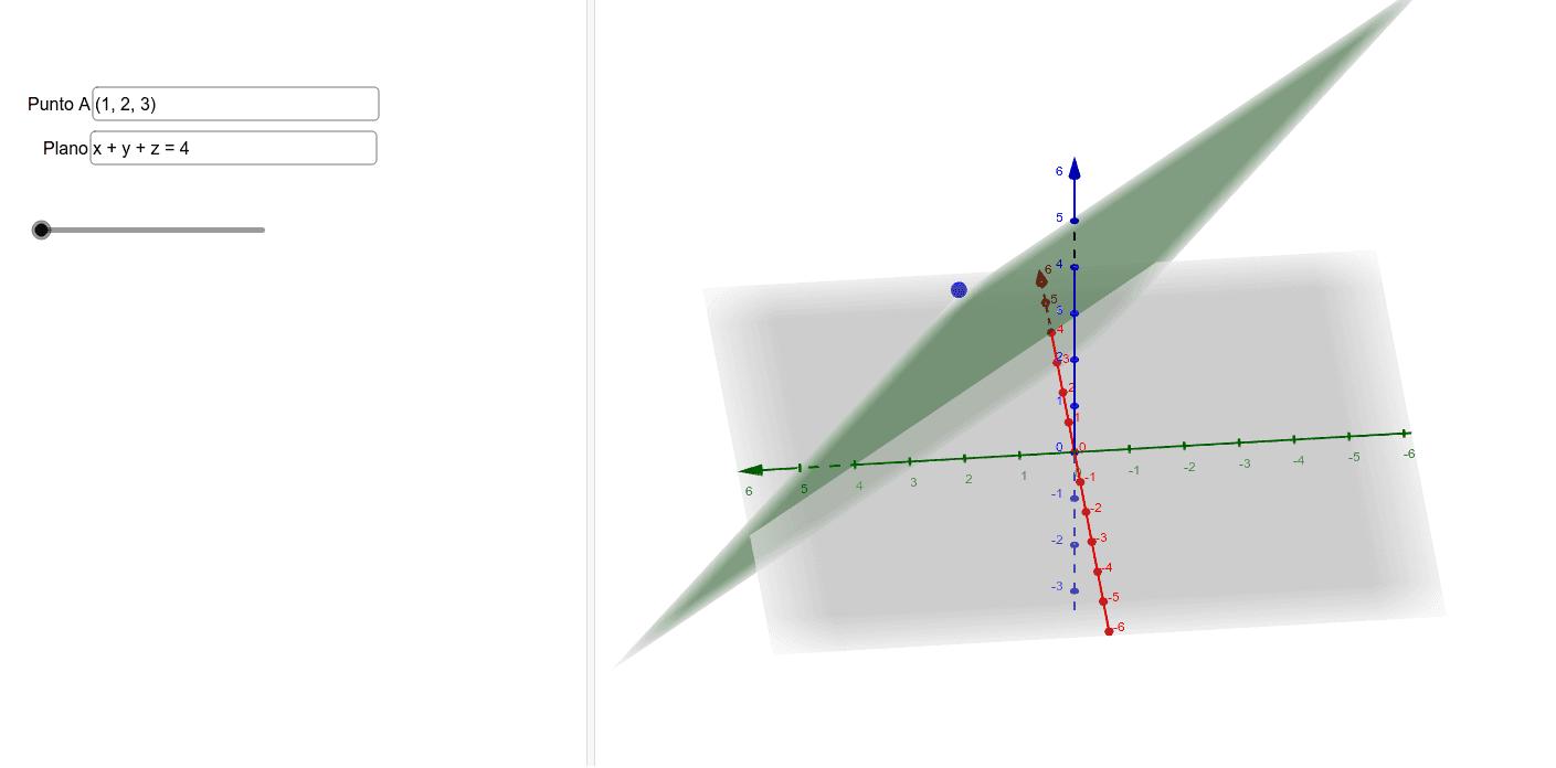 Modifica las coordenadas del punto y del plano en forma general. Después mueve el deslizado para ver cómo calcular el simétrico de A con respecto al plano.  Presiona Intro para comenzar la actividad