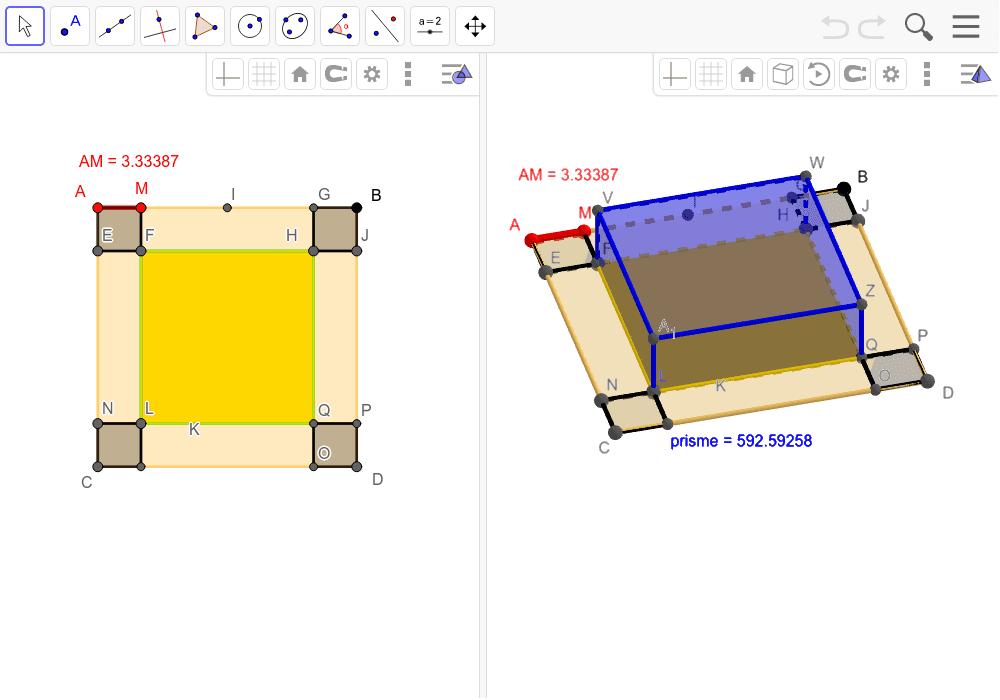 """Modéliser en 2D et 3D avec GeoGebra (bouger le point M sur [AI] dans la figure de gauche, visualiser le rendu en 3D) Tapez """"Entrée"""" pour démarrer l'activité"""