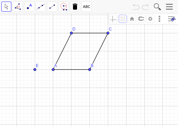 Rotate ABCD 180 degrees around E.  Don't delete your circles. Press Enter to start activity