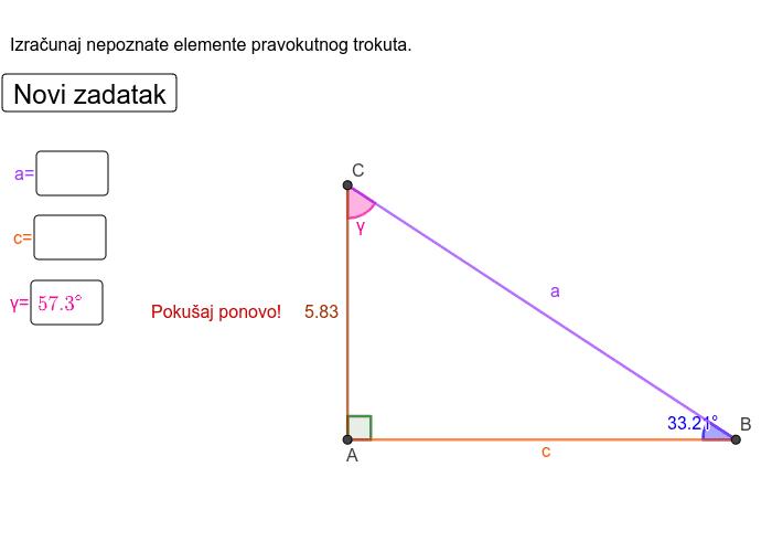 Pravokutni trokut - trigonometrijski omjeri Pritisnite Enter za pokretanje.
