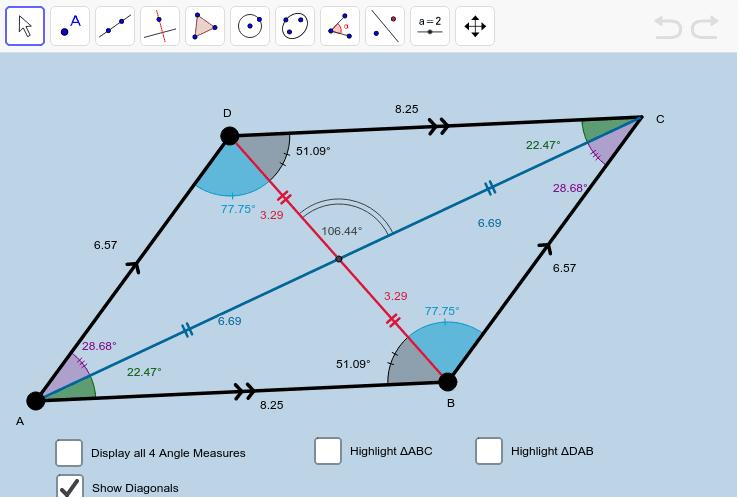 Parallelogram Investigation 1 Press Enter to start activity