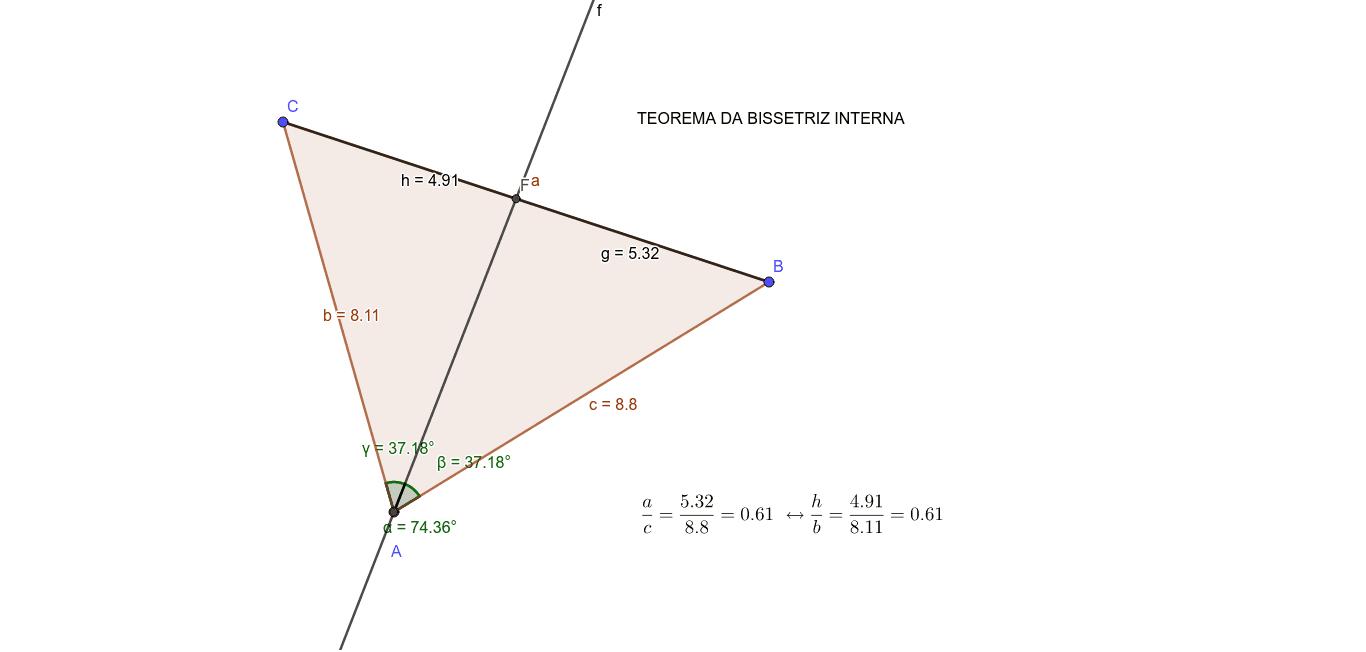Movimente os vértices A, B ou C do triângulo ABC e observe as razões a/c  e h/b Press Enter to start activity