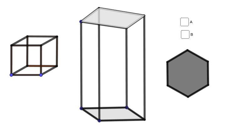 左:立方体の見え方が入れ替わる。真ん中:エッシャーの有名な建物。右の六角形:どんな立体の影だろうか? ワークシートを始めるにはEnter キーを押してください。