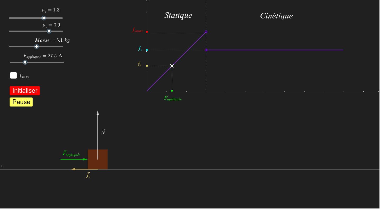 """Distinction entre frottement statique et frottement cinétique. Description du modèle. Tapez """"Entrée"""" pour démarrer l'activité"""