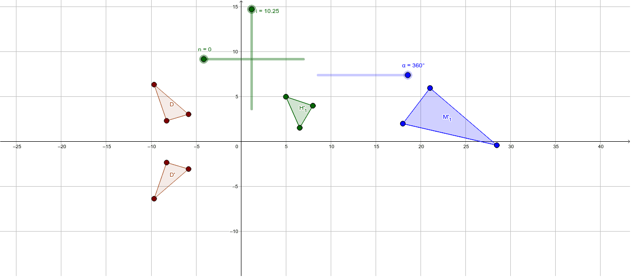 Use the sliders and observe the movement of the triangles. Which one(s) are considered to be translated? Use the characteristics of a translation to explain. Press Enter to start activity