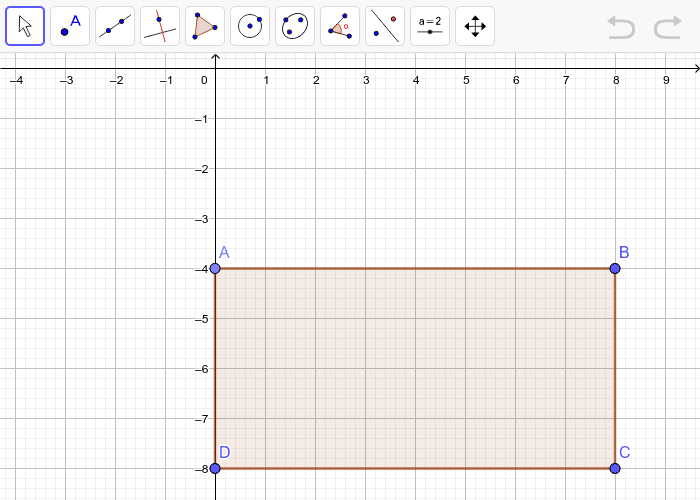 Graph the image of rectangle ABCD after a dilation with a scale factor of 1/4.  Press Enter to start activity