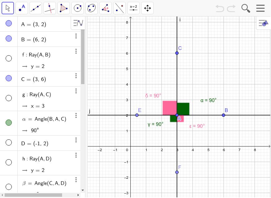 Mueves los puntos A, B y C para obtener distintos ángulos. Observa que los dos ángulos verdes son opuestos por el vértice A (y por eso son iguales), al igual que los dos ángulos rosas son opuestos por el vértice A (y por eso son iguales). Presiona Intro para comenzar la actividad