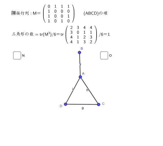 グラフを行列で表現する・・・trはトレース(対角線の和) ワークシートを始めるにはEnter キーを押してください。