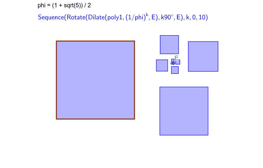 First step : construct a square (poly1) a a point E. Define phi (the golden ratio) and this sequence in blue. Press Enter to start activity