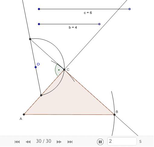 Конструиши правоугли троугао са правим углом у темену С ако је дужина хипотенузе 6cm, а катете 4cm. Press Enter to start activity