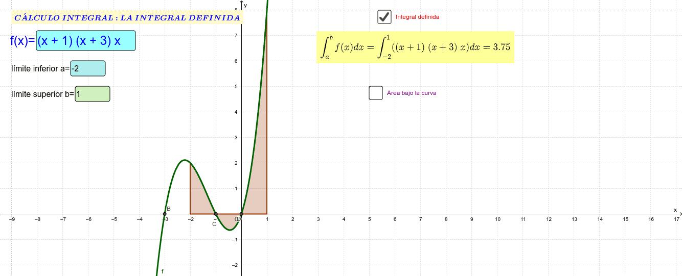 El applet permite evaluar integrales definidas así como también obtener el área bajo la curva desde x = a hasta  x = b. Presiona Intro para comenzar la actividad