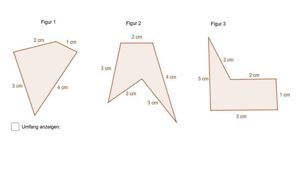 Berechne jeweils den Umfang der Figuren. Zur Kontrolle kannst du dir den Flächeninhalt der Figur 1 anzeigen lassen. Die Umfänge der Figuren 2 und 3 musst du unten beantworten. Drücke die Eingabetaste um die Aktivität zu starten