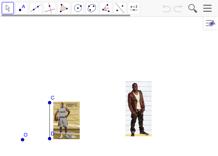 In the problem below, Kevin Hart is standing next to a poster of Shaquille O'neal.  Use center O to create a scale drawing of segment CD with a scale factor of r = 2.5 Press Enter to start activity