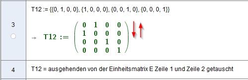 [size=100]Tauschmatrix zum Vertauschen von Zeilen oder Spalten. Sie entstehen aus der Einheitsmatrixin dem die entsprechenden Zeilen vertauscht wurden: T12, T13, T14, T23, T24, T34 wäre ein kompletter Satz an Matrizen um alle möglichen Zeilen- oder Spalten-Vertauschungen einer 4x4 Matrix zu beschreiben.[/size]