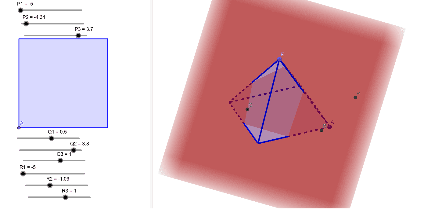 Plane PQR.  Move Points P,Q,R.  Rotate 3D to Observe intersection. Press Enter to start activity