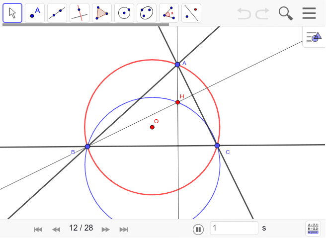 △ABCの外接円と△HBCの外接円がBCで対称になることの証明。△HBC≡△H'BCを示せばOK。見事です。 ワークシートを始めるにはEnter キーを押してください。