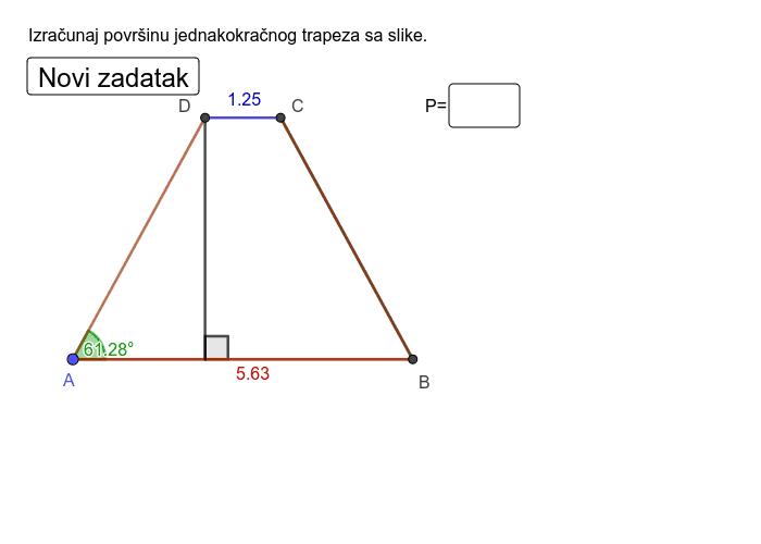 Jednakokračni trapez Pritisnite Enter za pokretanje.
