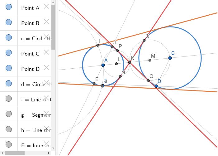 Common tangents of circles (construction) - Společné tečny kružnice (konstrukce) Zahajte aktivitu stisknutím klávesy Enter