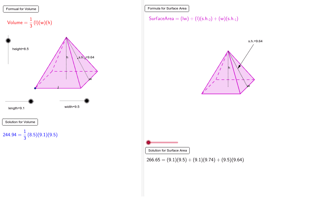 Net, Surface Area and Volume Interactive - Rectangular Pyramid Press Enter to start activity