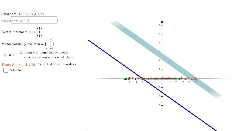 Escribe la ecuación de la recta r en forma vectorial, y la del plano pi en forma general para ver la posición relativa de la recta y el plano. A continuación clica el botón Solución para ver la distancia entre ellos, y, en caso de que se corten, el ángulo Presiona Intro para comenzar la actividad