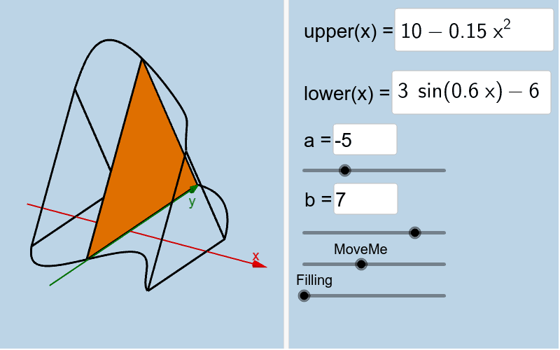 The solid below has equilateral triangle cross sections parallel to the yAxis. Given the dimensions of the Toblerone shown above, construct an accurate model of it below. Press Enter to start activity