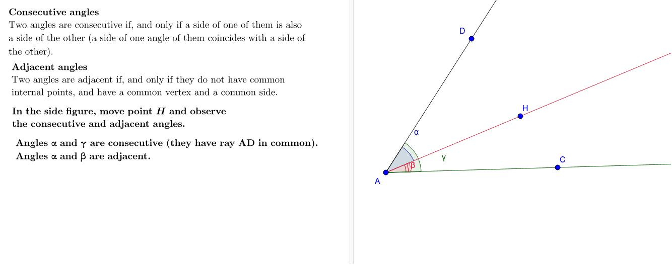 Consecutive and Adjacent Angles Press Enter to start activity