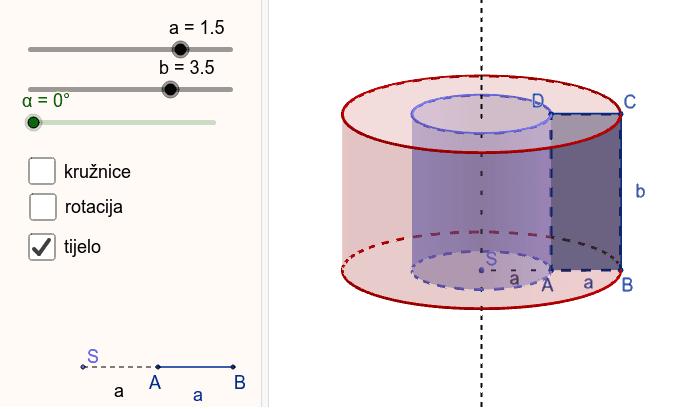 Pravokutnik stranica a i b rotira oko pravca paralelnog stranici b udaljenog za a. Pritisnite Enter za pokretanje.