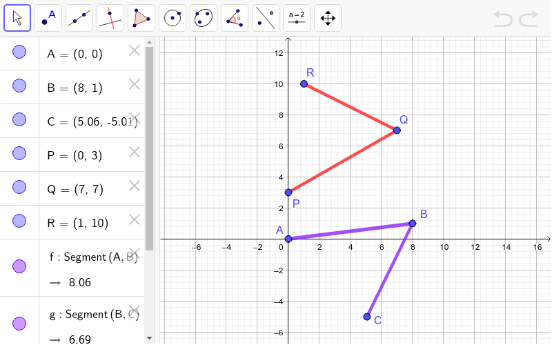 Prove that Angle ABC and PQR are congruent to each other - don't just measure them! Press Enter to start activity