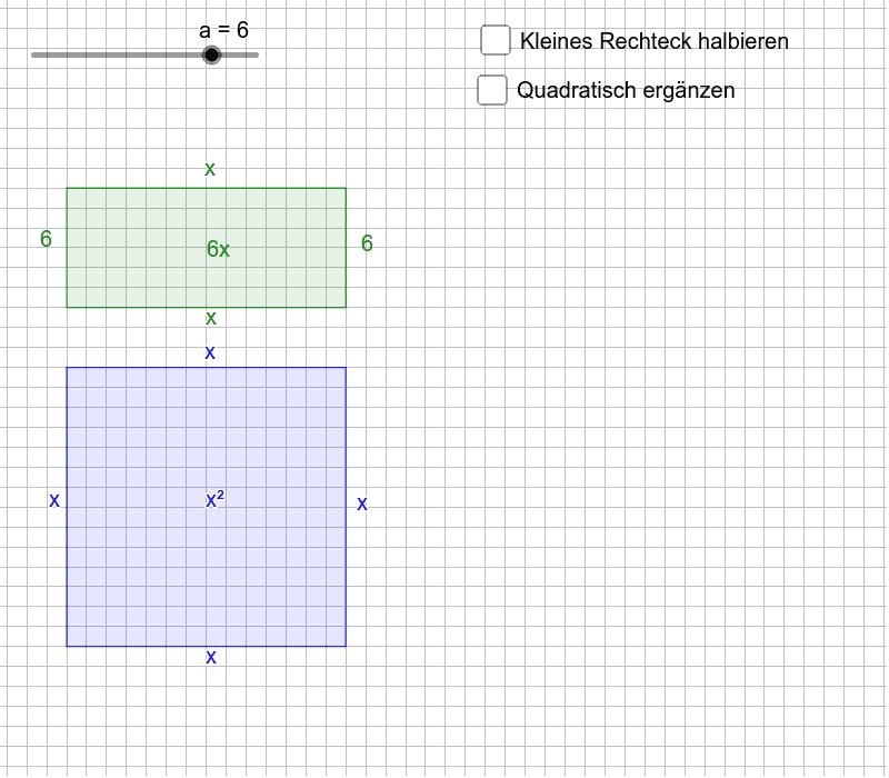 Verschiebe die Rechtecke, um damit ein Quadrat zu bauen. Eines der Rechtecke, das beim Halbieren entsteht, lässt sich drehen, indem der markierte Punkt bewegt wird. Drücke die Eingabetaste um die Aktivität zu starten