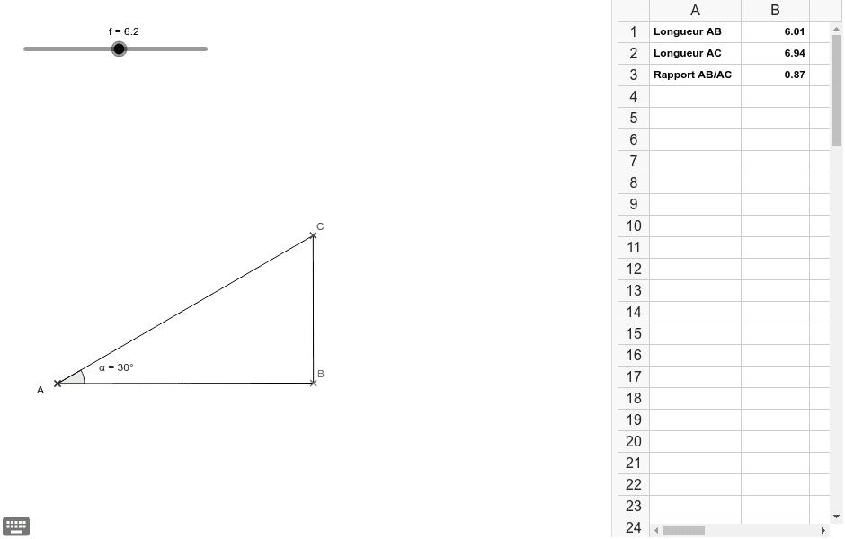 """Bouger le curseur et observer les 3 valeurs du tableur. Tapez """"Entrée"""" pour démarrer l'activité"""
